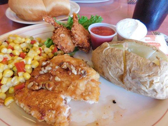 Beaver, Utah: Honey Pecan Chicken with 2 Shrimp and sides $10.99