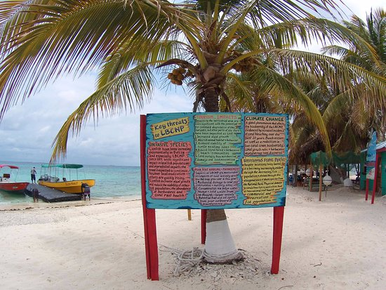 Πλασένθια, Μπελίζ: Sign with some info about threats to Laughing Bird Caye NP