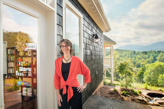 Black Mountain, NC: Whitney in front of her tranquil home office.