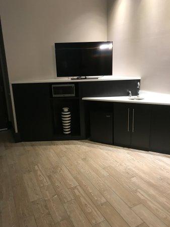 Lumberton, Carolina del Norte: Living area, sink, fridge, microwave and TV