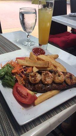 Aura Restaurant My Husband S Food Steak Shrimp Salad Fries