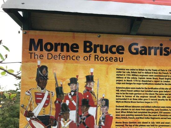 Roseau, Dominica: Signage talking about Morne Bruce