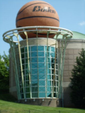 Huge basketball outside the Women's Basketball Hall of Fame, supposedly world's largest basketba