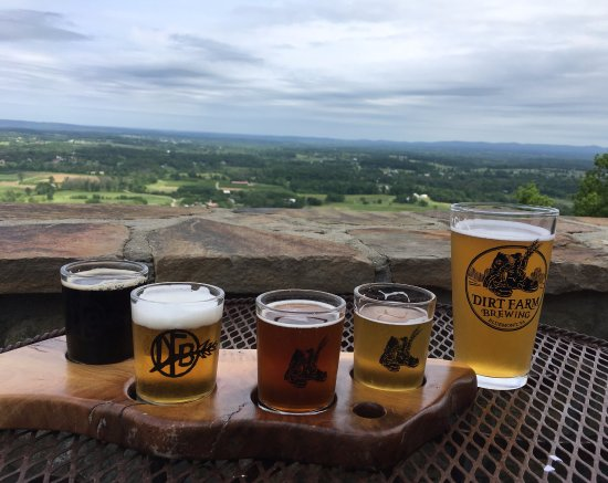 Bluemont, VA: Milk Stout Ale, Work Session IPA, Red Merl Irish Red Ale, Straw Golden Ale, and a pint of Hefewe