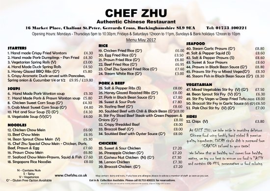 Chalfont St Peter, UK: Chef Zhu's Takeaway Menu