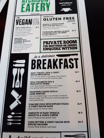 St Leonards, Australia: Current Breakfast Menu
