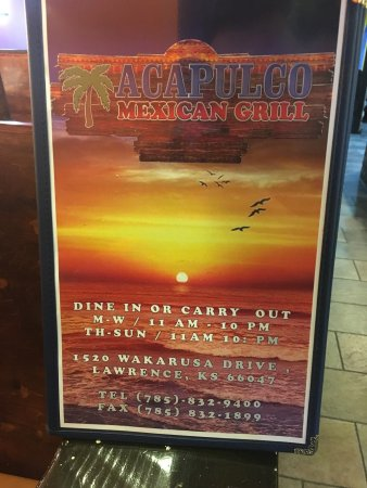 Lawrence, KS: El Sol is out of business. Acapulco Mexican Grill is now OPEN for business, call us at 785-832-9