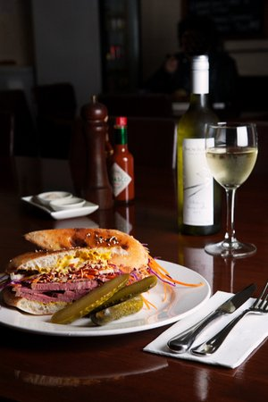 Main Street Cafe: Our Homemade Corned Beef, Pickles And Coleslaw Turkish Pide.