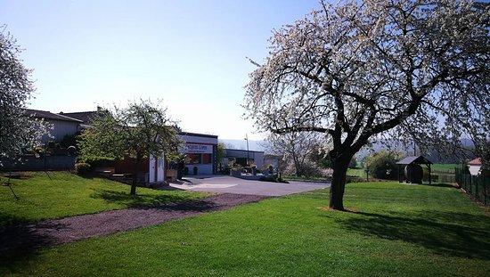 Verneuil, France: Le domaine. Espace d'accueil avec bar, boutique et aire camping-car