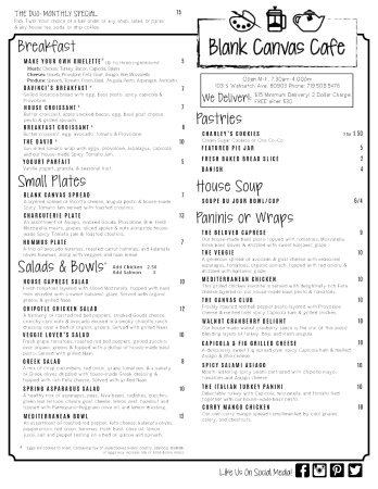 Menu Side One For Blank Canvas Cafe At Dream Catchers