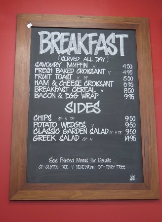 Metricup, Australia: Breakfast Menu