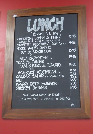 Metricup, Australia: Lunch Menu