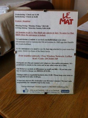 Le Mat B&B Goteborg City: Information