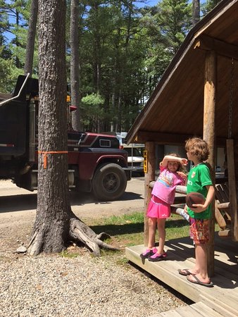 Saco, ME: My daughter protecting herselves of the dust generated by trucks passing our cabin
