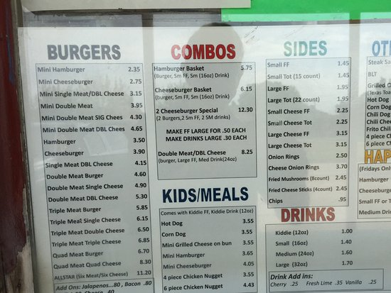 Ponca City, OK: Jim's Jumbo Burger menu