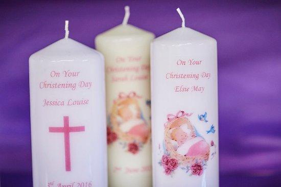 Higher Burwardsley, UK: Personalised Christening Candles