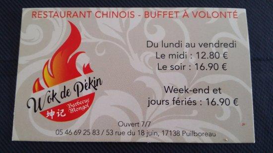 Puilboreau, Francia: Carte du restaurant