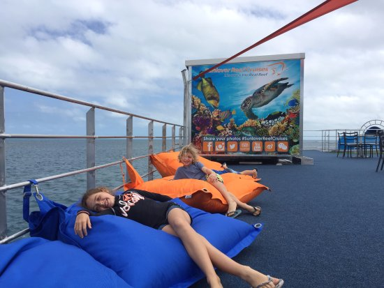 Cairns Region, Australia: Lounging on the top deck of the new pontoon