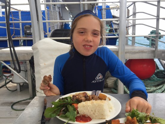 Distrik Cairns, Australia: Eating lunch in her stinger suit