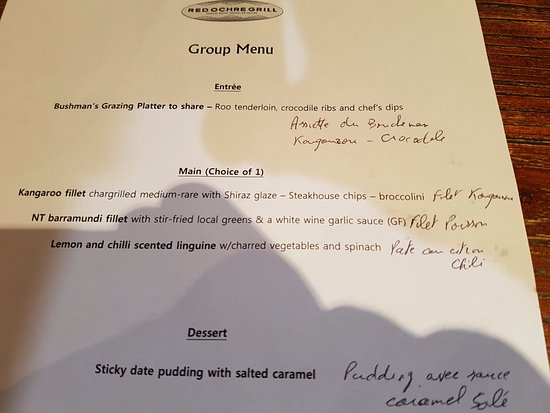 Red Ochre Grill Restaurant Alice Springs : Carte de groupe