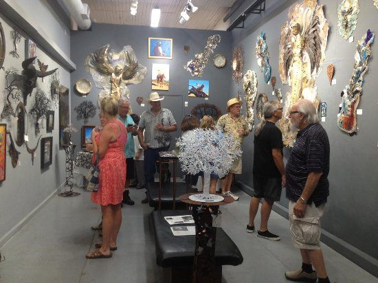 Granbury, TX: 3rd room of gallery demonstrating Stacey Watkins' GloArt sculpture.