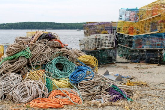 Bath, ME: Traps and colorful lines at the shore, waiting for our boat ride to Seguin Island Lighthouse