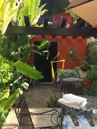 Luz En Yucatan: Looking back at our veranda from the pool