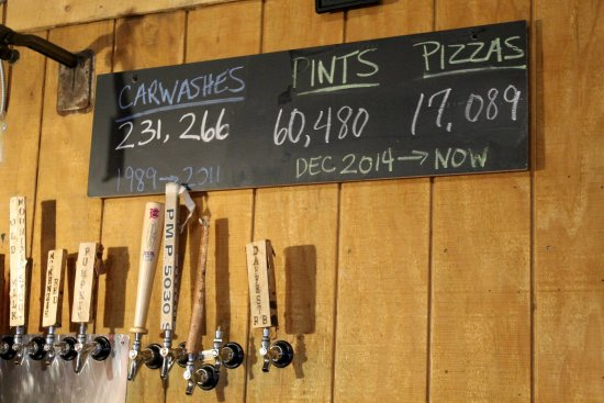 Saranac Lake, NY: Blue Line Brewery Pizza & Pub is trying to pour more pints or serve more pizzas than its car was
