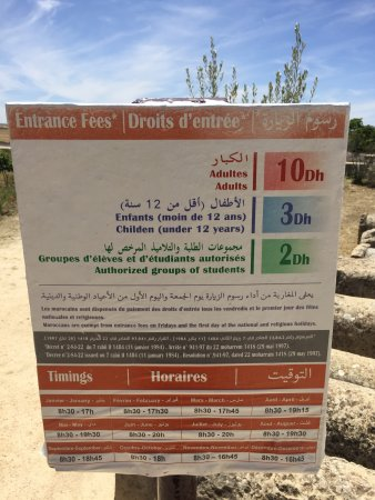 Meknes-Tafilalet Region, Μαρόκο: Hours and prices. Hope it's useful.