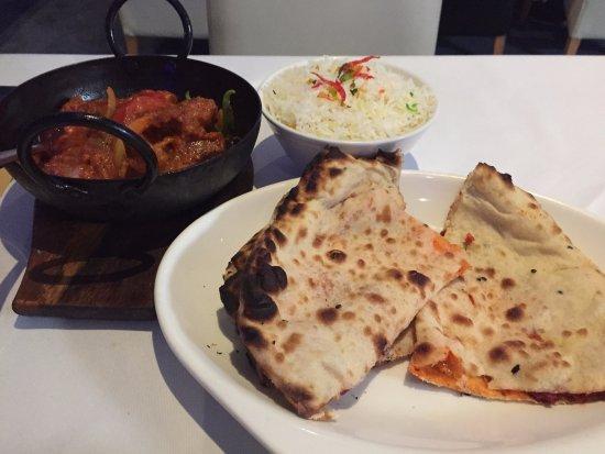 Bicester, UK: Lamb Jalfrezi with Pilau Rice and Keema Nan