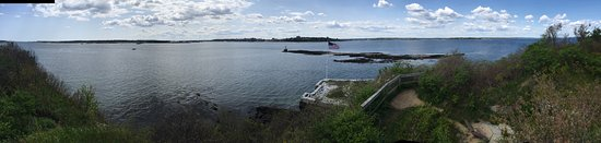Fort Gorges: panoramic view back toward Portland