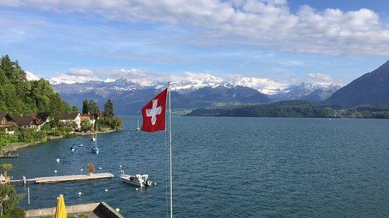Hilterfingen, Szwajcaria: Vues de la chambre, de la terrasse et depuis le chemin au bord du Lac.