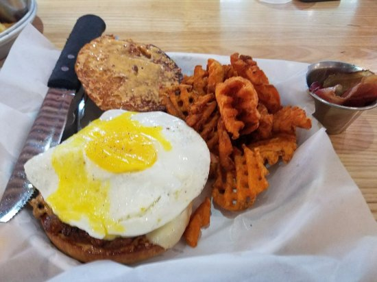 The Woodlands, TX: Jive Turkey with a fried egg and side of bacon, and sweet potato waffle fries