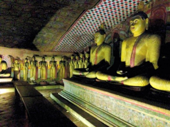 Dambulla Cave Temples :2100 years ago Temples. 1st century built. Hand carving inside the cave.