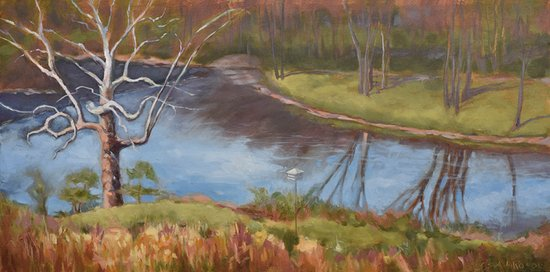 Mill Grove Mansion: This image is a painting of the Perkiomen River on the Mill Grove hill.