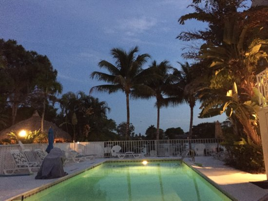 Marco Island Lakeside Inn : Relaxing by the pool at night.
