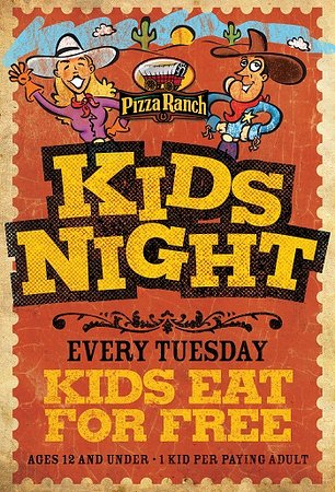 Cedar Rapids, IA: Kids 12 and under eat free every Tuesday per 1 paying adult!