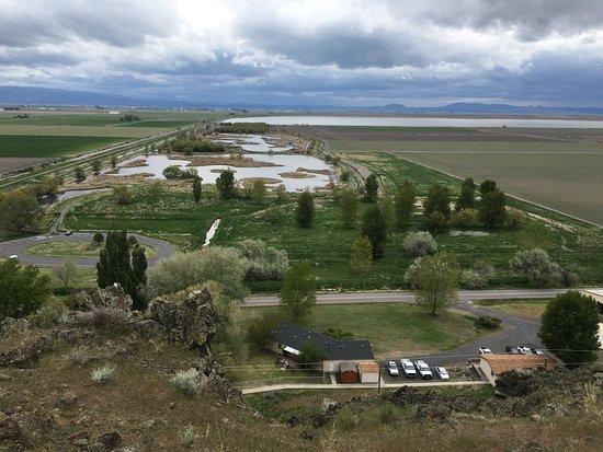 Tulelake, CA: View from rock shelter over Tule Lake National Wildlife Refuge