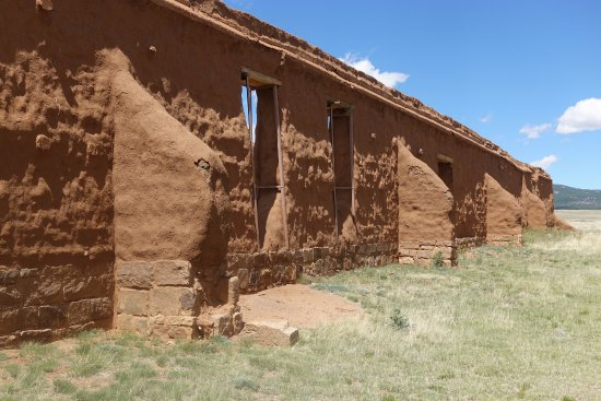 Watrous, NM: Flying buttress supports of the adobe walls
