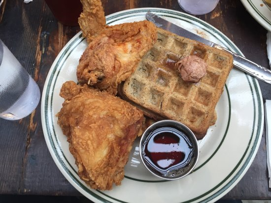 Pies-N-Thighs: Chicken and waffles (waffles were hard but chicken was hot)