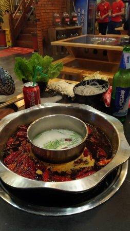 Wuhu, China: Very spicy hotpot....