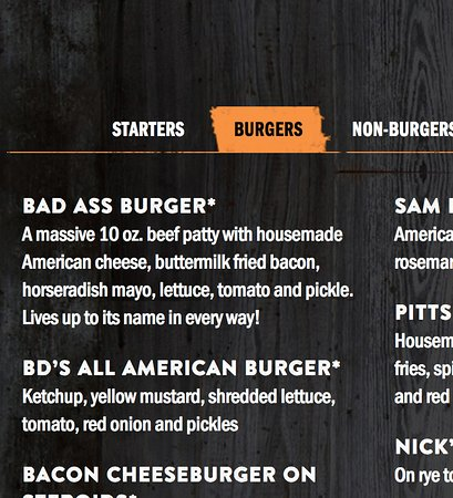 Morrisville, NC: Bad Ass Burger - Bad Daddy's Menu