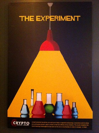 "Crypto Escape Rooms: This is the poster from ""The Experiment"" room. A great room for escape enthusiasts."