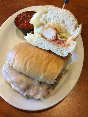 Nampa, ID: May 2017 dinner salad and chicken parmesan sandwich