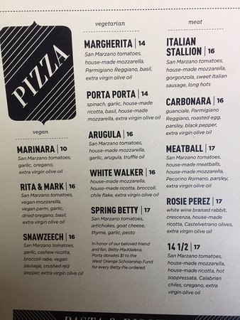 Asbury Park, NJ: Pizza Menu