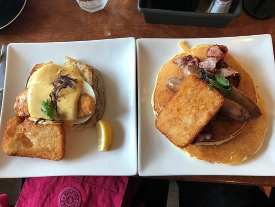 Capers Cafe: Salmon and Sausage w/ Pancake