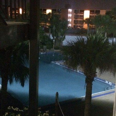 Monumental MovieLand: Pool at night.