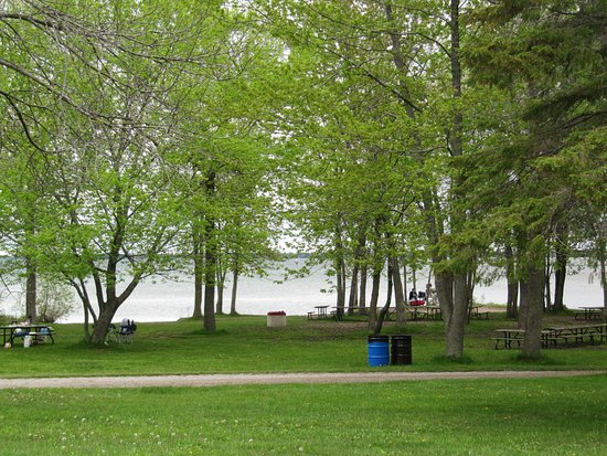 Georgina, Canada: Looking towards beach from park store