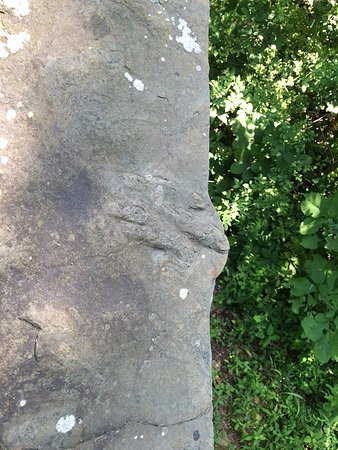 Parque Militar Nacional de Gettysburg: Random find, dinosaur footprints in one of the rocks on a bridge before Big Round Top.