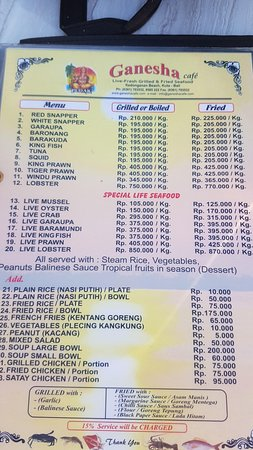 the food menu picture of ganesha cafe kedonganan tripadvisor rh tripadvisor com